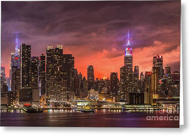 New York City Skyline And Fireworks Vi Greeting Card