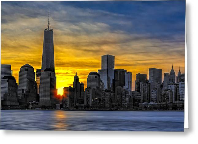 New York City Skyline At Dawn Greeting Card by Susan Candelario