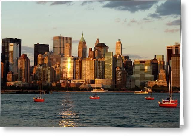 Horizontal Panorama Greeting Cards - New York City Skyline at Sunset Greeting Card by Alexander Mendoza