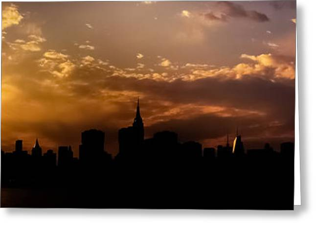 New York City Skyline At Sunset Panorama Greeting Card by Vivienne Gucwa