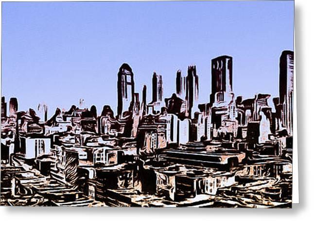 New York City Skyline Blue Graphic Greeting Card