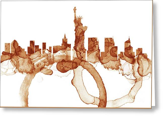 New York City Skyline - Coffee  Greeting Card
