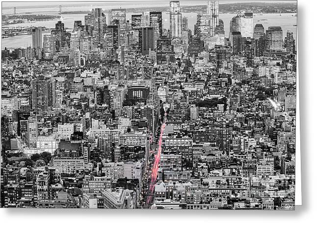 New York City Skyline From The Empire State Observation Deck In Black And White - Manhattan Island   Greeting Card by Silvio Ligutti