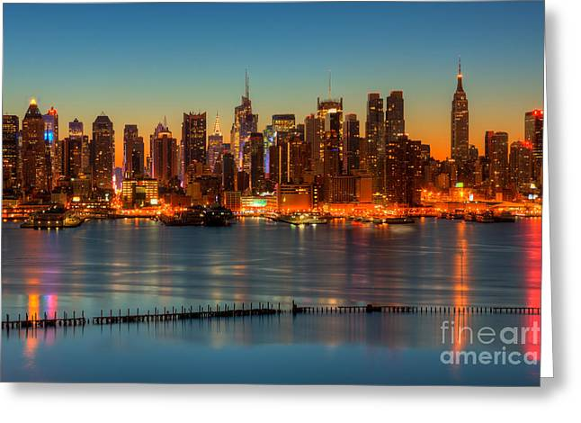 New York City Skyline Morning Twilight V Greeting Card by Clarence Holmes