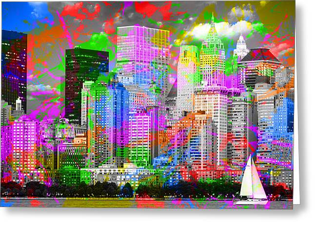New York City Skyline Paint Splatters Pop Art Greeting Card