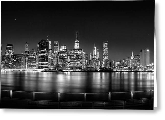 New York City Skyline Panorama At Night Bw Greeting Card by Az Jackson
