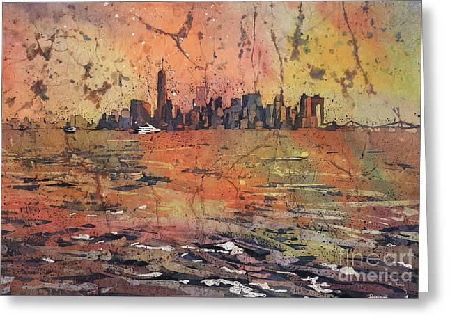 New York City Skyline Greeting Card by Ryan Fox