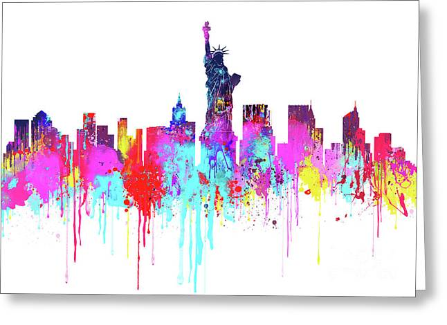 New York City Skyline - Watercolour - Colorful  Greeting Card by Prar Kulasekara
