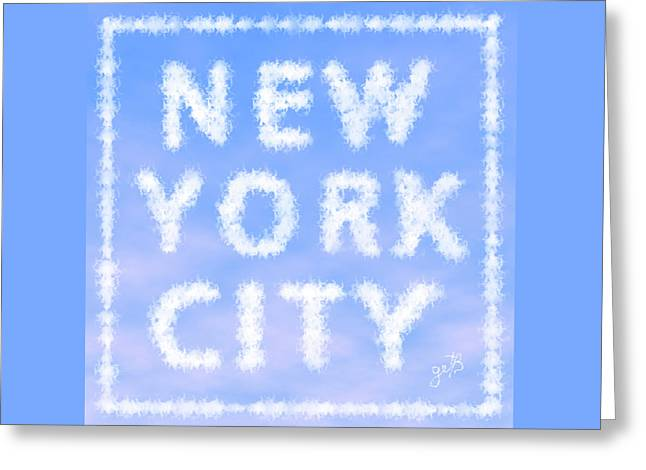 Greeting Card featuring the painting New York City Skywriting Typography by Georgeta Blanaru