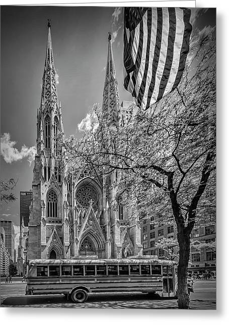 New York City St Patrick's Cathedral - Monochrome Greeting Card