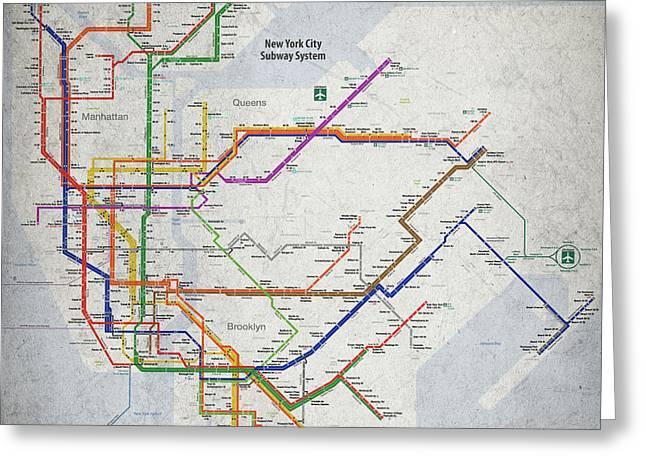 New York City Subway Map Greeting Card