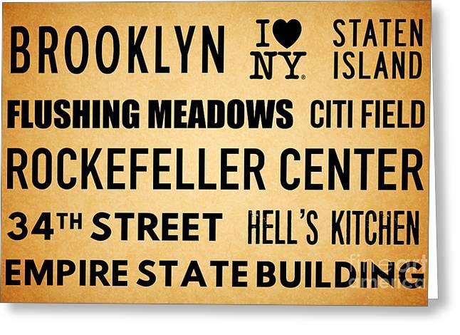 New York City Subway Sign Typography Art 13 Greeting Card