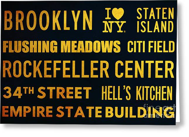 New York City Subway Sign Typography Art 14 Greeting Card