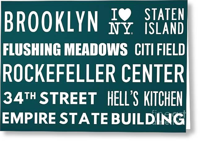 New York City Subway Sign Typography Art 15 Greeting Card