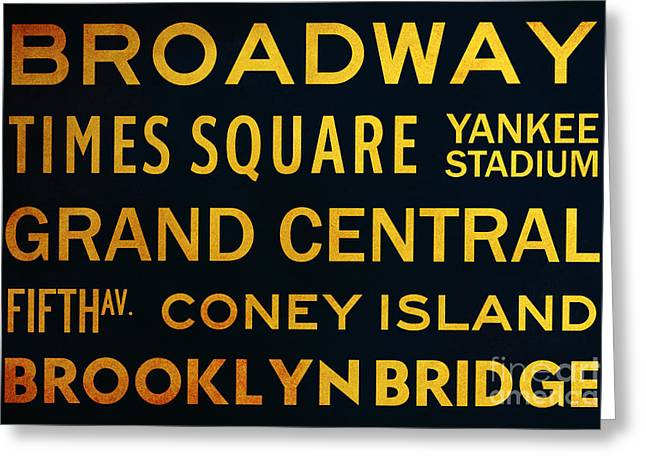 New York City Subway Sign Typography Art 2 Greeting Card