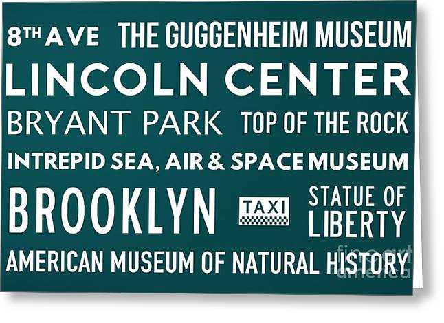 New York City Subway Sign Typography Art 21 Greeting Card by Nishanth Gopinathan