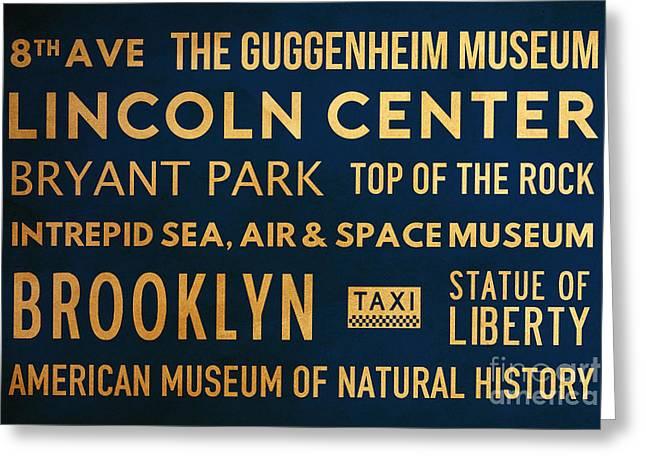 New York City Subway Sign Typography Art 22 Greeting Card by Nishanth Gopinathan
