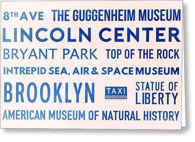 New York City Subway Sign Typography Art 23 Greeting Card by Nishanth Gopinathan