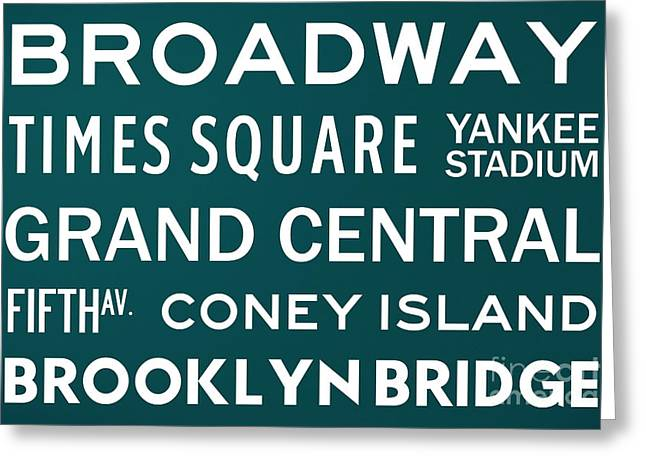 New York City Subway Sign Typography Art 3 Greeting Card