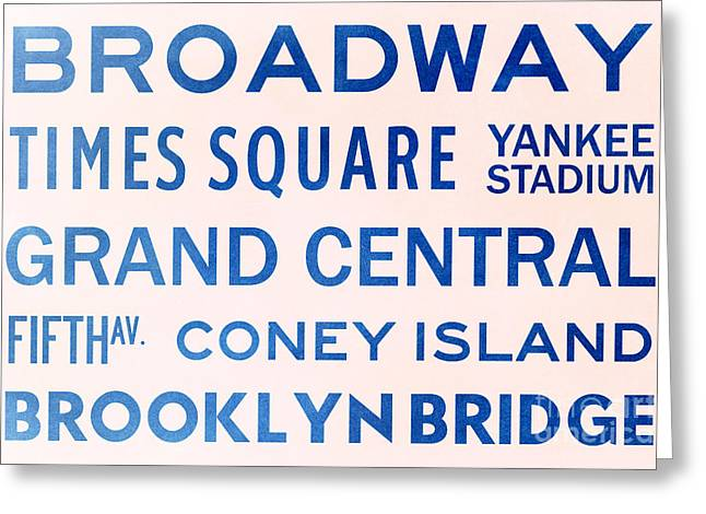 New York City Subway Sign Typography Art 5 Greeting Card