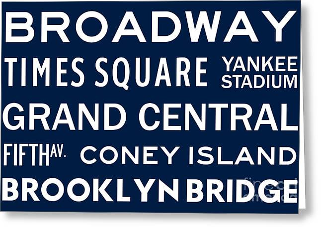 New York City Subway Sign Typography Art 6 Greeting Card