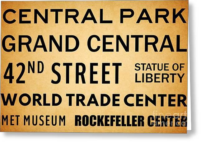 New York City Subway Sign Typography Art 7 Greeting Card