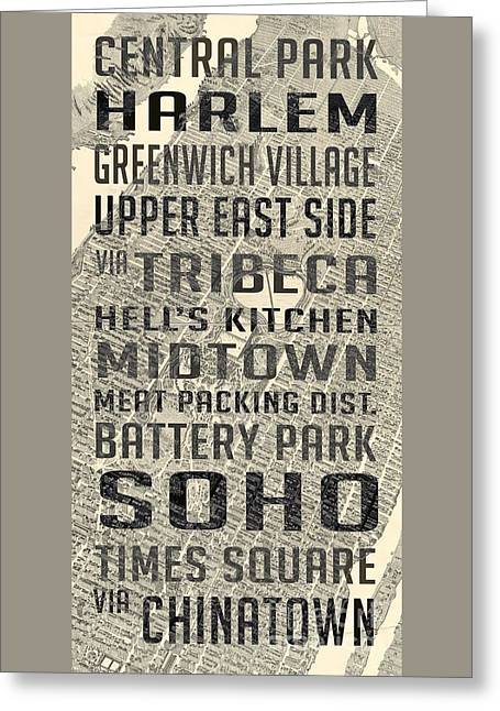 New York City Subway Stops Vintage Map 5 Greeting Card by Edward Fielding