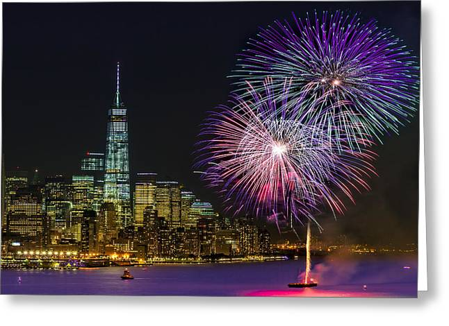 New York City Summer Fireworks Greeting Card by Susan Candelario