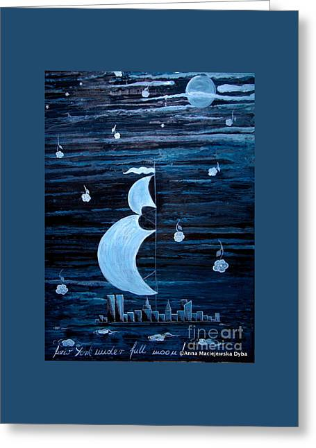 New York City Under Full Moon Greeting Card