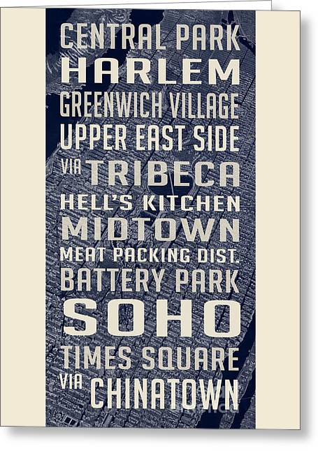 New York City Vintage Subway Stops With Map Greeting Card by Edward Fielding