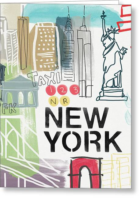 New York Cityscape- Art By Linda Woods Greeting Card by Linda Woods
