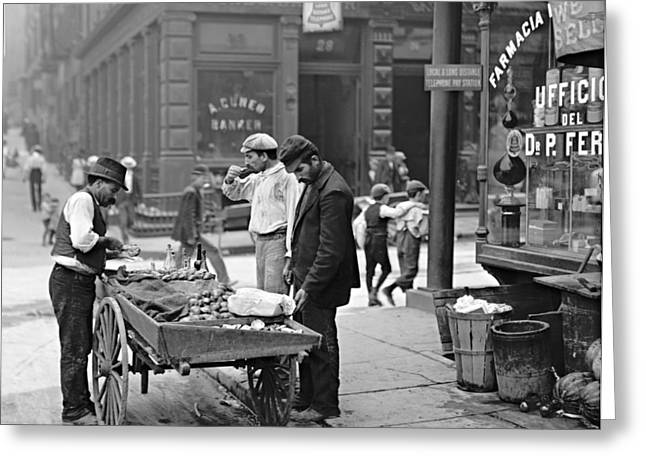 New York Clam Seller In Mulberry Bend 1900 Greeting Card
