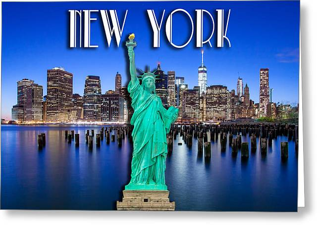 New York Classic Skyline With Statue Of Liberty Greeting Card by Az Jackson