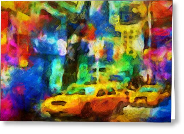 New York Colorstorm Greeting Card by Lutz Baar