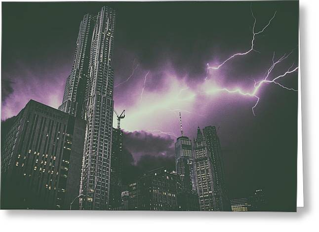 New York Electrical Storm Greeting Card