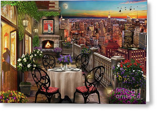 New York Evening Greeting Card by MGL Meiklejohn Graphics Licensing