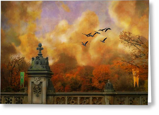 New York Fall - Central Park Greeting Card by Jeff Burgess