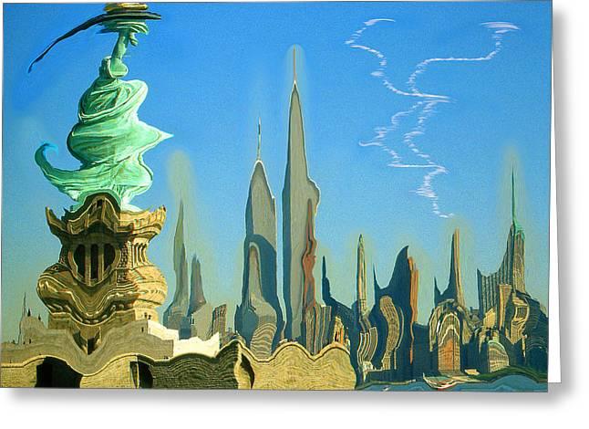 New York Fantasy Skyline - Modern Artwork Greeting Card