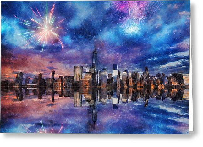 New York Fireworks Greeting Card by Ian Mitchell