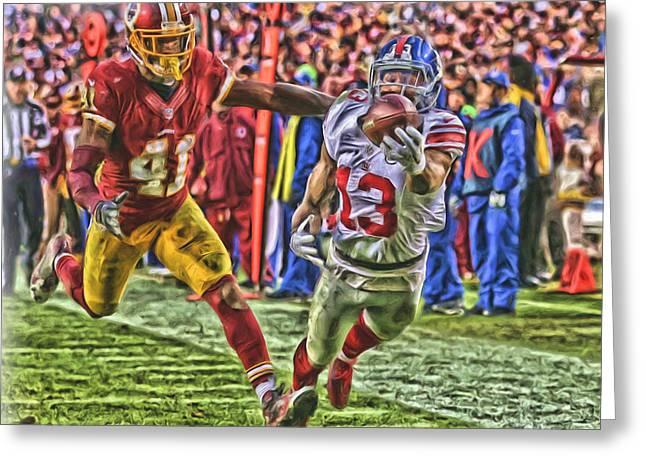 New York Giants Odell Beckham Jr Oil Art Greeting Card by Joe Hamilton