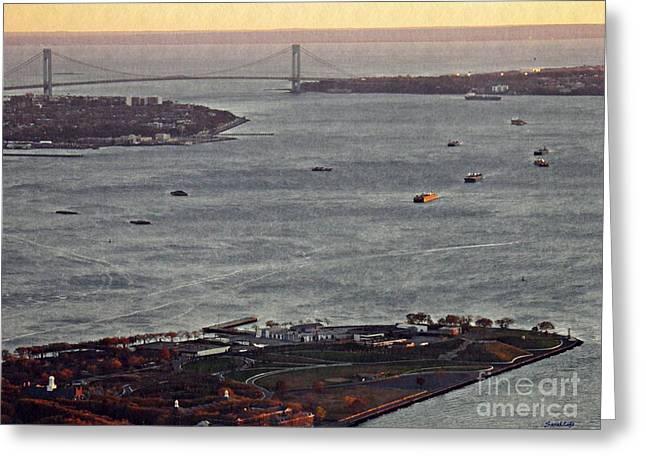 New York Harbor At Dusk Greeting Card by Sarah Loft