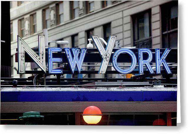 New York In Neon Greeting Card by Art Block Collections