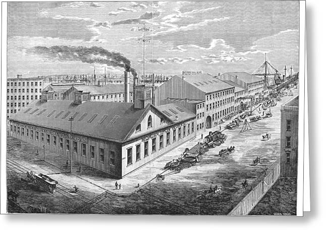 1876 Greeting Cards - New York: Iron Works, 1876 Greeting Card by Granger
