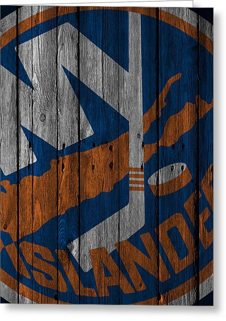 New York Islanders Wood Fence Greeting Card by Joe Hamilton