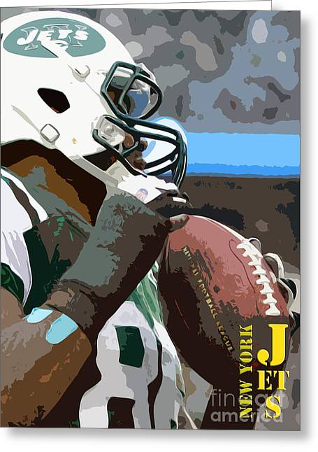 New York Jets Football Team And Original Yellow Typography Greeting Card by Pablo Franchi