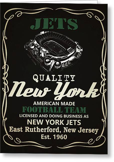 New York Jets Whiskey Greeting Card by Joe Hamilton