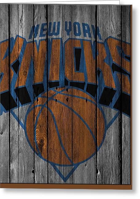 New York Knicks Wood Fence Greeting Card by Joe Hamilton