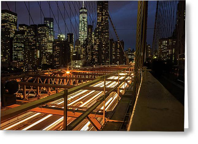 New York Lights Greeting Card by Martin Newman