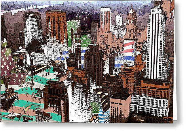 New York Mid Manhattan - Modern Art Greeting Card