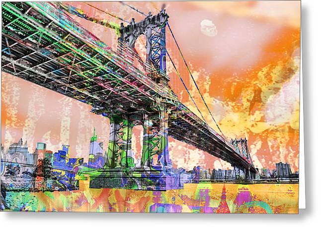 New York City Manhattan Bridge Gold Greeting Card by Tony Rubino
